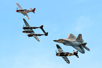 Heritage Flight P-38, P-47, P-51, F-22